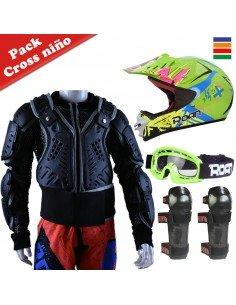 Kit protección cross niño con peto integral, casco, gafas y rodilleras - Motosapollo.com