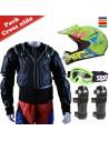 Kit protección cross niño con peto integral, casco, gafas y rodilleras