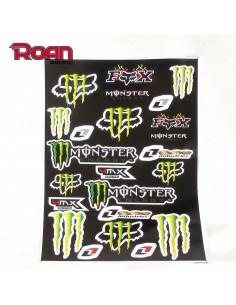 Pliego pegatinas Monster-Fox 47x32cm - Motosapollo.com