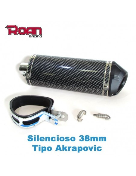 Silencioso Pit bike 38mm Carbono - Motosapollo.com