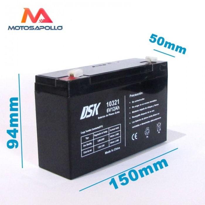 Bateria plomo acido 6v 12Ah DSK - Motosapollo.com