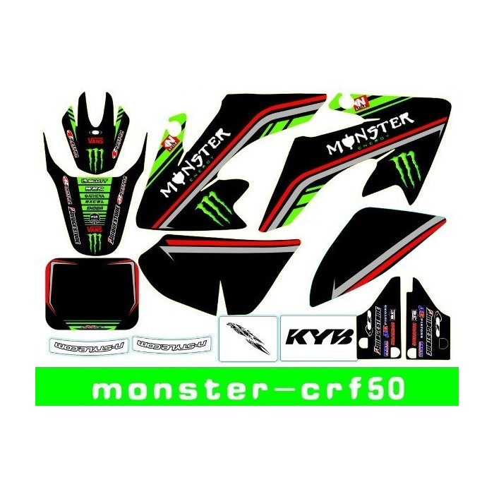 Adhesivos CRF50 Monster-verde pit bike