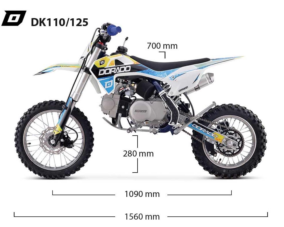 Dimensiones Pit Bike Dorado DK110-125