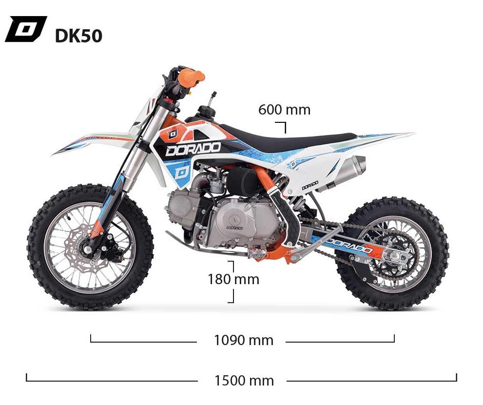 Dimensiones pit bike dorado DK50